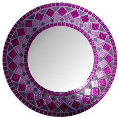 "Items similar to MIRROR MOSAIC ""Girls Dream"" round Wall Mirror Choose size Pink,Purple Rectangular,Square,Oval custom order on Etsy Wall Mirrors Entryway, Small Wall Mirrors, Black Wall Mirror, Rustic Wall Mirrors, Contemporary Wall Mirrors, Round Wall Mirror, Purple Mirror, Mirror Bedroom, Modern Wall"