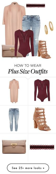 """""""Plus size fall chic"""" by xtrak on Polyvore featuring Marc Fisher, River Island, Salvatore Ferragamo, Silver Jeans Co. and John Hardy"""