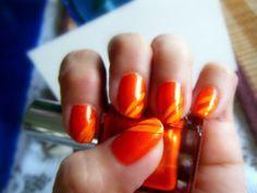 simply orange nail art..