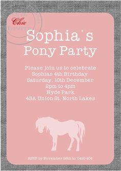 Girls Pony Party Birthday Invitation Customised by OneChicInvite, $14.00