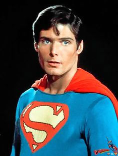 Christopher Reeve in his screen test Superman costume -- note the way different S symbol