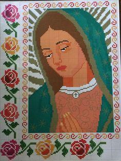 Virgen de Guadalupe en punto de cruz/Lady of Guadalupe in cross stitch