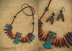 My Owl Barn: Lovely Owl Necklace by VaniLlama Art Owl Jewelry, Wooden Jewelry, Leather Jewelry, Jewelry Crafts, Handmade Jewelry, Owl Crafts, Clay Crafts, Terracotta Jewellery Designs, Owl Necklace