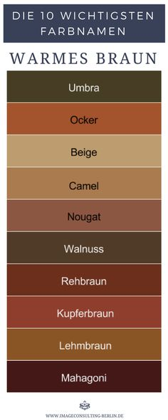 Warme Brauntöne sind Umbra, Ocker, Beige, Camel, Nougat, Walnuss, Rehbraun, Kupferbraun, Lehmbraun, Mahagoni