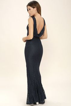 A fantastic night awaits you in the Magic in the Air Navy Blue Lace Maxi Dress! Beautiful floral lace shapes a rounded neckline, and princess-seamed bodice with a low draping back. Flaring mermaid maxi skirt falls from a fitted waist. Blue Bridesmaids, Lace Bridesmaid Dresses, White Maxi Dresses, Trendy Dresses, Bride Dresses, Fashion Dresses, Women's Fashion, Maxi Skirt Fall, Chiffon Maxi Dress