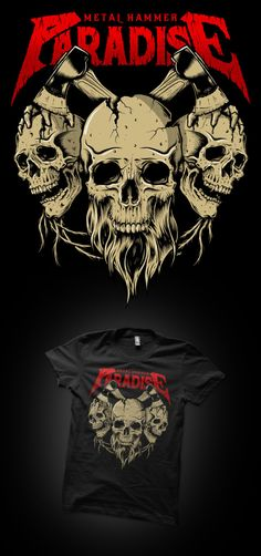 Illustration for tee design for Metal Hammer's Paradise Festival. Breath Of Fresh Air, Tee Design, Paradise, Metal, Tees, Illustration, Mens Tops, T Shirt, Poster