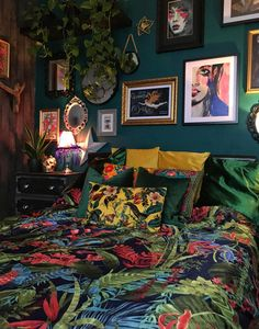 Designer Spotlight: Lush Eclectic – A Flair for the Lair Room Ideas Bedroom, Home Bedroom, Bedroom Artwork, Eclectic Bedroom Decor, Artistic Bedroom, Bedroom Modern, Dark Romantic Bedroom, Dark Cozy Bedroom, Dark Bedrooms