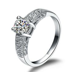 Luxurious 925 Silver Diamond Wedding Rings