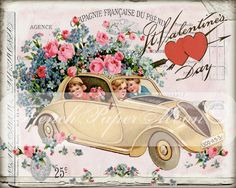 Shabby Vintage Digital Valentine Car, Valentines Day, Valentine Pillow Transfer Image, Iron On Fabric Graphic Transfer by FrenchPaperMoon on Etsy
