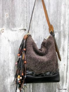 Black and Brown Leather Hobo with Beaded Fringe by Stacy Leigh