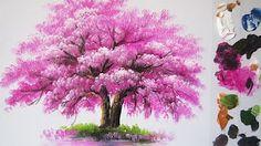 Painting a Cherry Blossom Tree Forest with Acrylics in 10 Minutes! - YouTube