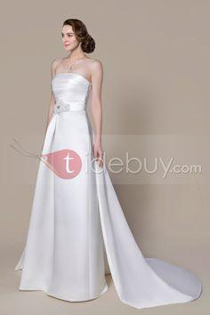 Aラインのストラップレスのチャペルのトラインビーズウェディングドレス