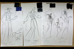 Yves Saint Laurent's sketches for his last fashion show (Paris, January 2002) | Madrid exhibition, 2012