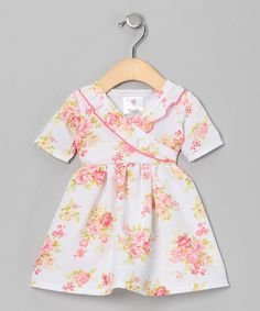 Take a look at this White Georgia's Peach Floral Surplice Dress - Infant & Toddler by Mad Sky on #zulily today!