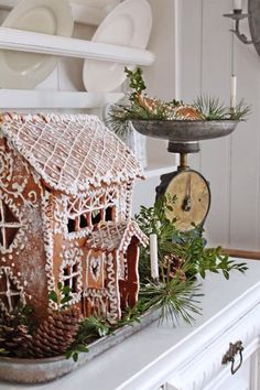 The Gingerbread House From: Vibeke Design, please visit Christmas Gingerbread House, Noel Christmas, Christmas Is Coming, Country Christmas, All Things Christmas, Winter Christmas, Vintage Christmas, Christmas Crafts, Christmas Decorations