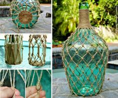 Ecco 26 idee per arredare la casa con vecchie damigiane Here are 26 ideas for decorating your home with old demijohns Jute knotted bottles and lanterns video instructions – Artofit Step by step how to cover bottles with fine macramé sailor s knots deta Rope Crafts, Seashell Crafts, Beach Crafts, Crafts To Make, Glass Bottle Crafts, Wine Bottle Art, Jute, Macrame Projects, Mason Jar Crafts