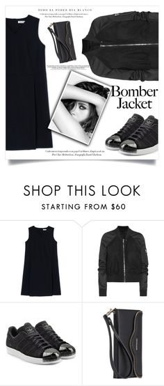 """""""all black"""" by aanchal-w ❤ liked on Polyvore featuring Jil Sander, Rick Owens, adidas Originals, Chanel, Rebecca Minkoff and bomberjackets"""