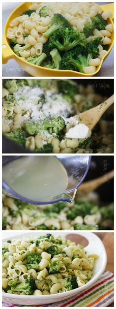 Bring a large pot of salted water to a boil. When water boils, add pasta and broccoli at the same time and cook, drain, add cheese