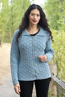 Cables and Lace Cardigan by Melissa Leapman. I love cables, I love lace. And the pattern is FREE on Revelry!