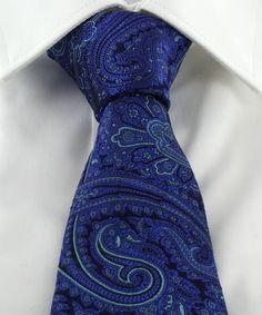 Haddon & Burley Azure Blue Ornate Paisley Silk Tie