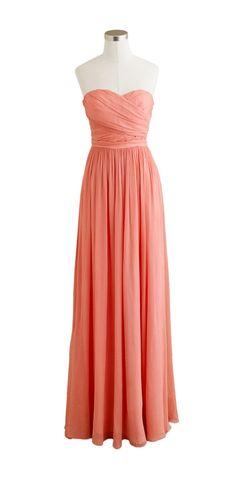 Coral Bridesmaid Dress by JCrew -- Arabelle long dress in silk chiffon (item 41367)