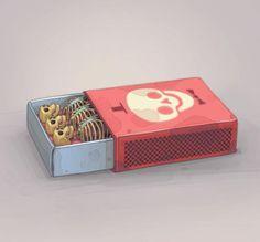 love this illustration of tiny skeletons in a matchbox.great contemporary watercolour contemporary print with halloween theme Memento Mori, Illustrations, Illustration Art, Matchbox Art, O Tattoo, Skull Design, Skull And Bones, Skull Art, Skull Head