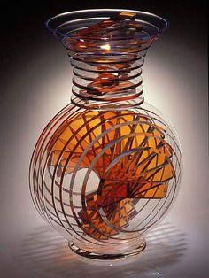 Sidney Hutter, Glass Artist - Vertical Vase #3 Pinned from http://www.sidneyhutter.com
