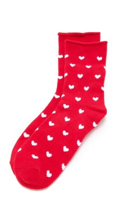 Plush Heart Rolled Fleece Socks for your new girlfriend @shopbop #giftguide #valentinesdaygift #lovegift