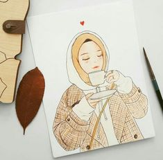 coffe and girl illustration Cartoon Kunst, Cartoon Art, Pencil Art Drawings, Cute Drawings, Hijab Drawing, Islamic Cartoon, Anime Muslim, Hijab Cartoon, Illustration Girl