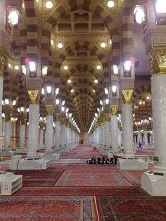 The Al-Masjid al-Nabawi in Medina, Saudi Arabia.
