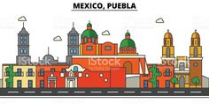 México, Puebla. Horizonte de la ciudad, arquitectura, edificios, calles, silueta, paisaje, panorama, monumentos, iconos. Movimientos editables. Plano línea vector ilustración de concepción illustracion libre de derechos libre de derechos