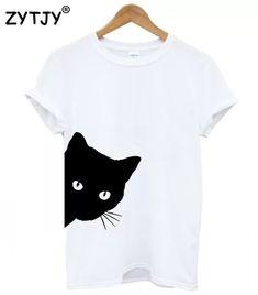 Ketamyy Femme Chats Patterns Impression Casual T-Shirt Col Rond Coupe Slim Manche Courte Coton Tops Casual T Shirts, Casual Tops, Short Shirts, Top Gris, T Shirt Top, Tee Shirt, T Shirt Print, Shirt Shop, Kid Outfits