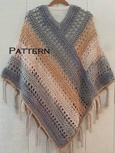 This easy, fringed poncho works up fast with worsted weight (size yarn and a Size N – crochet hook. The large hook and thick yarn make this a weekend project that you will want to wear every weekend! The poncho is crocheted in two large rectangles t Crochet Poncho Patterns, Crochet Borders, Crochet Scarves, Crochet Shawl, Crochet Clothes, Knitting Patterns, Knit Crochet, Double Crochet, Single Crochet
