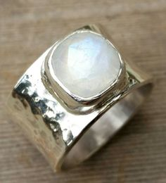 Raw Sterling Silver Moonstone Ring Statement Ring Cocktail Ring Contemporary Art Jewelry Wide Band Unique Modern SALE