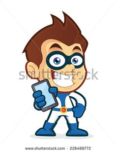 Illustration about Vector clipart picture of a superhero cartoon character holding smartphone. Illustration of mask, call, powerful - 46113049 Superhero Cartoon, Superhero Kids, Logo Character, Character Design, Vector Clipart, Vector Art, Smartphone, Mascot Design, Cool Art