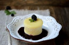 These super simple, light and airy cakes have a perfectly moist consistency and an amazing texture separation that creates a pudding top when you invert them onto a serving dish.   Meyer Lemon Pudding Cakes with Blackberry Sauce