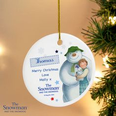 The Snowman and the Snowdog Blue Round Decoration