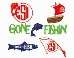 Fishing monogram designs, SVG, DXF, EPS, for use with Silhouette cameo and Cricut Explore. Vinyl cut files. by ESIdesignsdigital