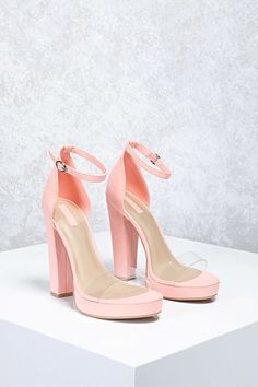 9281c93819c7 A pair of faux suede platform shoes featuring an adjustable ankle strap  with a buckle closure