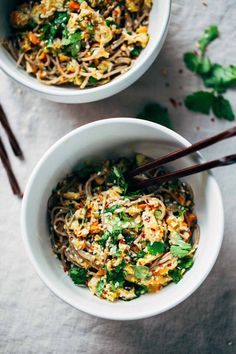 Chopped Chicken Sesame Noodle Bowls - loaded with veggies, chicken, cilantro, and a homemade sesame-peanut sauce. So good!
