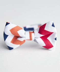 Take a look at the Trendy Ties Navy & Red Zigzag Bow Tie on #zulily today!