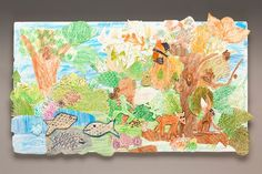 Pop-Up Wildlife Mural lesson plan, instead of the rainforest, kids could journal what they see during several nature walks near their school or maybe in a local park, then make this as a class