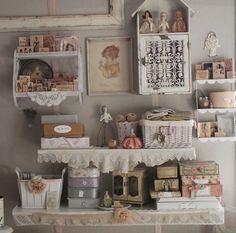 shabby chic craft area | craft room idea – so pretty, shabby chic