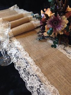 """Burlap and Ivory Lace Table Runner - Wedding Table Runner - 14"""" Width; Lace on Edges - for Home Decor, Rustic Wedding Party Linens"""