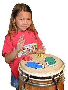 Music in Motion: MUSIC WITH COLORS: Percussion Hands Junior Hands Decals - Percussion target decals, with color-coded lesson book and demo DVD. Use on drums for practice.