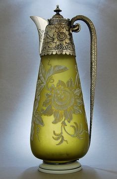 Etched olive glass claret jug by Frederick Elkington, Sheffield, England 1889