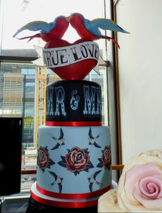 'True Love' Swallows & Tattoos Wedding Cake