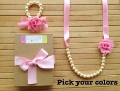 Custom shabby chic jewelry set - pink - pick your colors - by MissSweetPeaBoutique, $21.00
