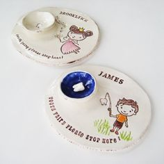 Handmade tooth fairy dishes from Brick Kiln - eliminate the need to sneak under a pillow