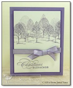 handmade Christmas card ... white and shades of purple ... like how the trees look like a forest ... Stampin'Up!